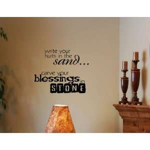 BLESSINGS IN STONE Vinyl wall quotes stickers sayings home art decor