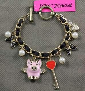 Free Ship Betsey Johnson Love heart key Angel Wings pearl pig