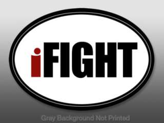 Oval iFIGHT Sticker   decal boxing UFC MMA octagon fire