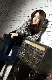 Zebra Leopard Animal Print Zip Front Hoodie Crop Jacket XS 0 2