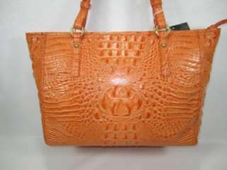 NWT BRAHMIN MEDIUM ARNO Cantaloupe MELBOURNE Croco Embossed Leather
