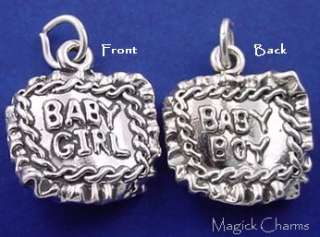 Sterling Silver BABY BLANKET Boy Girl Twins 3D Charm