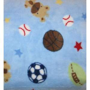Blue Plush Baby Blanket   Sports Theme with Puppy Dog: Baby