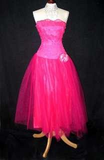 NWT Jessica McClintock Retro Fuchsia Tea Length Tulle Dress Gown Size