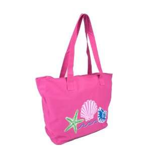 Canvas Tote Bag w/ Sea Shell Design   Pink Office