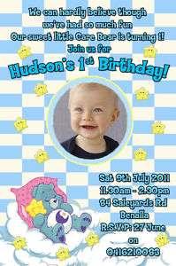 Care Bears Blue Custom Photo First Birthday Invitations