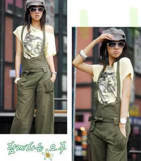 Korea Fashion Womens Free Style Cotton Bib Pants Trouse Hot