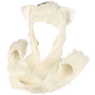 Winter Faux Fake Frizzy Animal Fur Scarf Trapper Ski Hat w Gloves