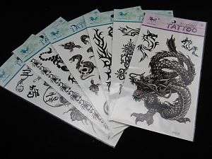 LOT OF 6 Dragon Skull Gothic Tribal TEMPORARY TATTOOS