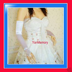 22White Fingerless Satin Bridal Prom Opera Long Gloves