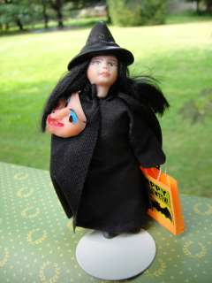 Dollhouse Miniatures Halloween Witch Doll Trick/Treater