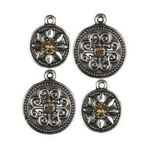 Cousin Jewelry Basics Metal Charms 4/Pkg Gunmetal Mixed; 3