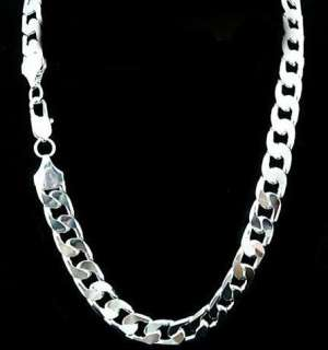 Cool Mens Silver Chains Curb Necklace 12MM 20 24 inch