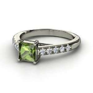Avenue Ring, Princess Green Tourmaline 14K White Gold Ring