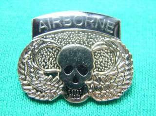 US ARMY AIRBORNE DEATH SKULL WINGS SHIRT LAPEL PIN NICE