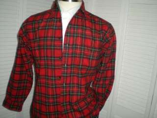 205 MENS VINTAGE USA PENDLETON RED TARTAN PLAID WOOL CHORE SHIRT LRG