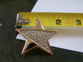 VTG Elegant Silver Gold Tone STAR Brooch Nautical Mystical Magical Pin