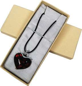 Red Dichroic Glass Heart Necklace handmade in Italy