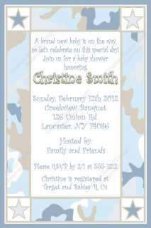 Blue and Khaki Camo Digital Baby Shower Invitation