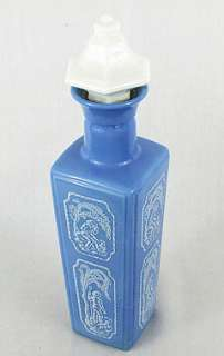 Vintage Blue Milk Glass Bottle~Shepherd & Dog~Cork Top!
