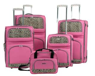 Rockland Leopard Print 5 Pc Luggage Set   Pink $560