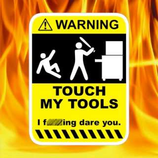Toolbox warning sticker decal for tool chests draws