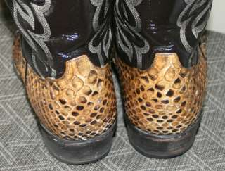 TONY LAMA Vintage Brown Leather Snakeskin Vamp Cowboy Boots Mens 10 D