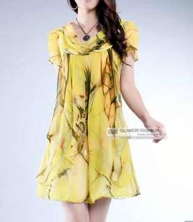 Printed Chiffon Dress Baggy Dress S/M/L #GF265A