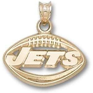 New York Jets NFL Football Pendant (Gold Plate)