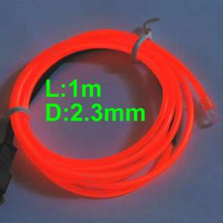 Flexible Neon Light Glow EL Wire Rope Tube Car Party Bar 1M+Driver Red