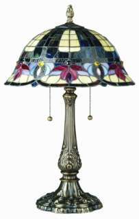 Godiva Tiffany Style Stained Glass Table Lamp Light 25
