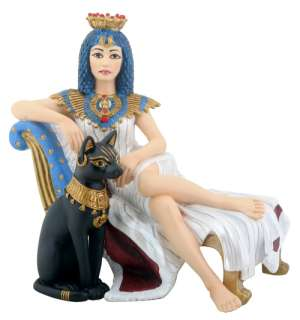 EGYPTIAN CLEOPATRA WITH BASTET STATUE/FIGURINE