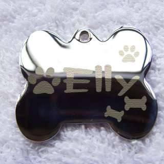 DOUBLE SIDED Fat Bone shape engrave Pet Dog ID Tags