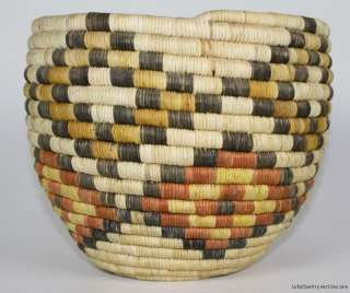 NR! Vintage HOPI Hand Coiled BASKET Antique Native American Indian Art