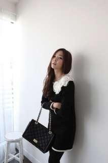 yrfashion Korean Fashion Women Pretty Rose Flower Collar Black Wool