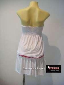 SEXY DROP WAIST BEACH/CLUB TUBE MINI DRESS WHITE S/M/L