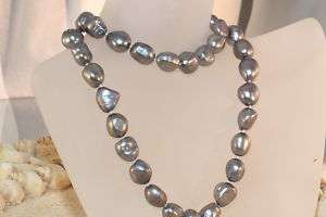 HUGE SOUTH SEA SILVER BAROQUE PEARL NECKLACE 14K/20 WHITE GOLD FILLED