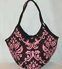 Belvah Black W Pink Damask Pattern Hobo Handbag Purse nwt Free US