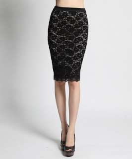 MOGAN Floral Crochet LACE Overlay Stretch PENCIL SKIRT Mid Knee Length