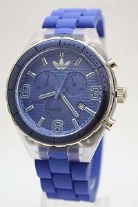 Adidas Cambridge Men Originals Chrono Blue Rubber Band Watch Date 45mm