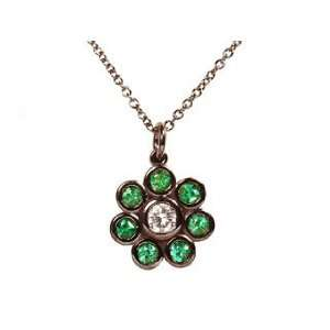14k Blacken White Gold Natural Emerald & Diamond Pendant Necklace Ct