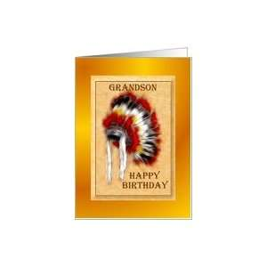 ~ Grandson ~ Aboriginal Headdress / War Bonnet Card: Toys & Games