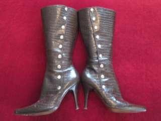Nine West Womens Espresso Brown Stiletto Knee High Boots Fall Winter