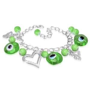 Green Evil Eye Glass Bead Ball Butterfly Open Love Heart Charm Chain