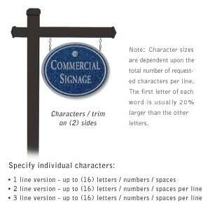 Commercial Sign Oval Black Post Cobalt Blue Sign Silver