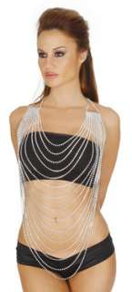 Rhinestone crystal chain necklace halter top body jewelry