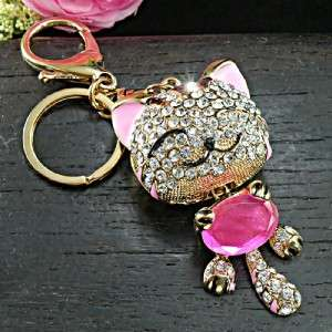 Cute Kitty Cat Clear Swarovski Crystal Keychain Purse Charm 18