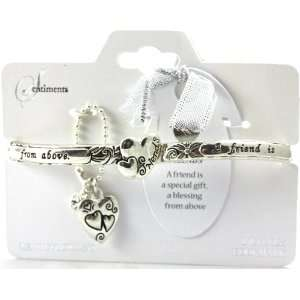 Hearts Message Stretch Bracelet with Charm and Bookmarker Silver Tone