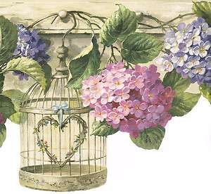 COUNTRY DIE CUT BIRD CAGES HANGING FROM HOOKS & FLOWERS Wallpaper