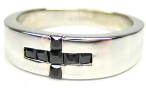 BLACK ONYX CROSS STERLING SILVER 18K CLAD BAND RING 6.5